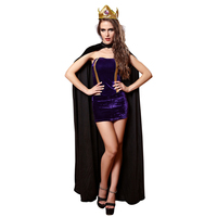 Queen Sexy Costume Halloween Costume For Woman Party Cospaly Evening Gown Girl Sexy Tight Dress+Crown+Cloak Stage Dress
