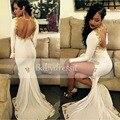 Preto aberto Sexy Preto Da Menina de Manga Longa Vestidos de Baile Branco 2017 alta fenda cetim stretch longo africano do laço do ouro sereia prom dress