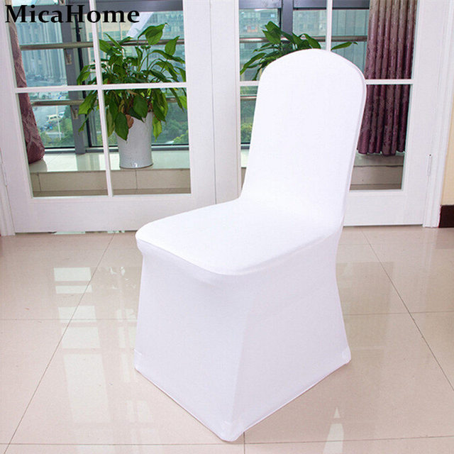 White Wedding Chair Cover Machine Washable Spandex Pure Colors Stretch Whole Lycra Covers For