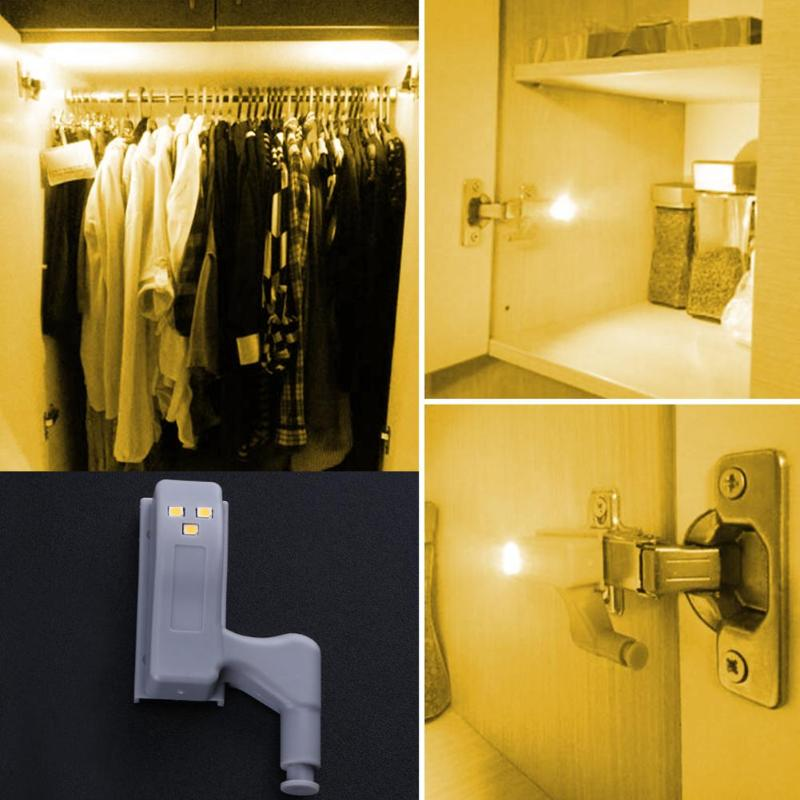 Universal Inner Hinge LED Sensor lamp 0.3W Cabinet Wardrobe Cupboard Door 3 LED Night light Auto Switch ON/OFF Bulb 3 LED Sensor Блохи