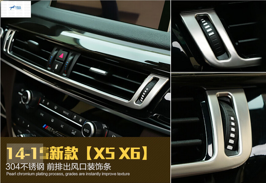 For BMW X5 F15 2014 - 2016 / X6 F16 2015 2016 2017 Stainless Steel Central Console Air Conditioning AC Outlet Vent Cover Trim console board dash side air condition ac vent outlet cover trim for bmw x5 e70 2009 2010 2011 2012 2013
