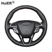 HuiER Hand Sewing Car Steering Wheel Cover Breathable Car Styling Black Leather For Ford Fusion Mondeo