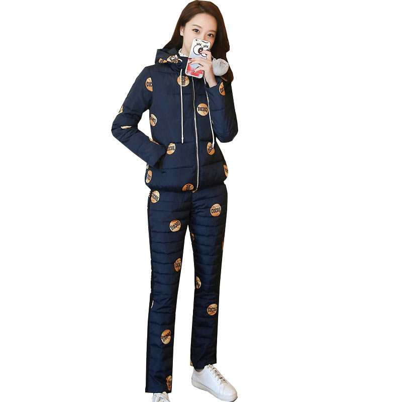 Winter Women Print 2 piece set 2017 Thicker Hooded Cotton Jacket+Long Trousers Two piece Set Fashion Female tracksuit crop top