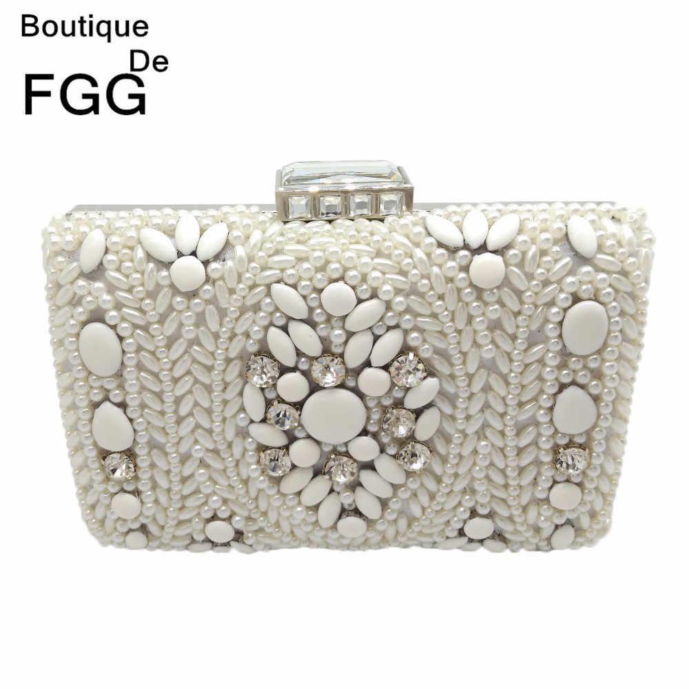 Бутик De FGG винтажный белый бисерный женский вечерний клатч женская  металлическая цепочка на плечо сумка и 861de752026