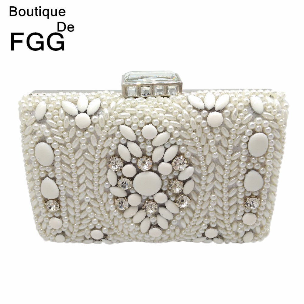 цена Boutique De FGG Hand Made Women White Beaded Evening Clutch Bag Hard Case Metal Wedding Party Cocktail Beading Handbag and Purse