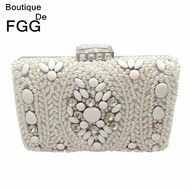 5a7ac489a786 Boutique De FGG Vintage White Beaded Women Evening Clutch Bag Ladies Metal  Chain Shoulder Handbag and