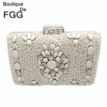 b578c8b6cc6c Бутик De FGG винтажный белый бисерный женский вечерний клатч женская  металлическая цепочка на плечо сумка и