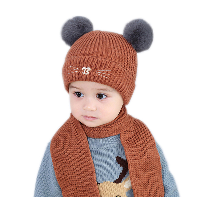 fa7b570e Newborn Baby Hat cap infant for a Boy Kids girl winter Warm child Fur Pom  Bobble Crochet Knit baby hats set with scarf for girls