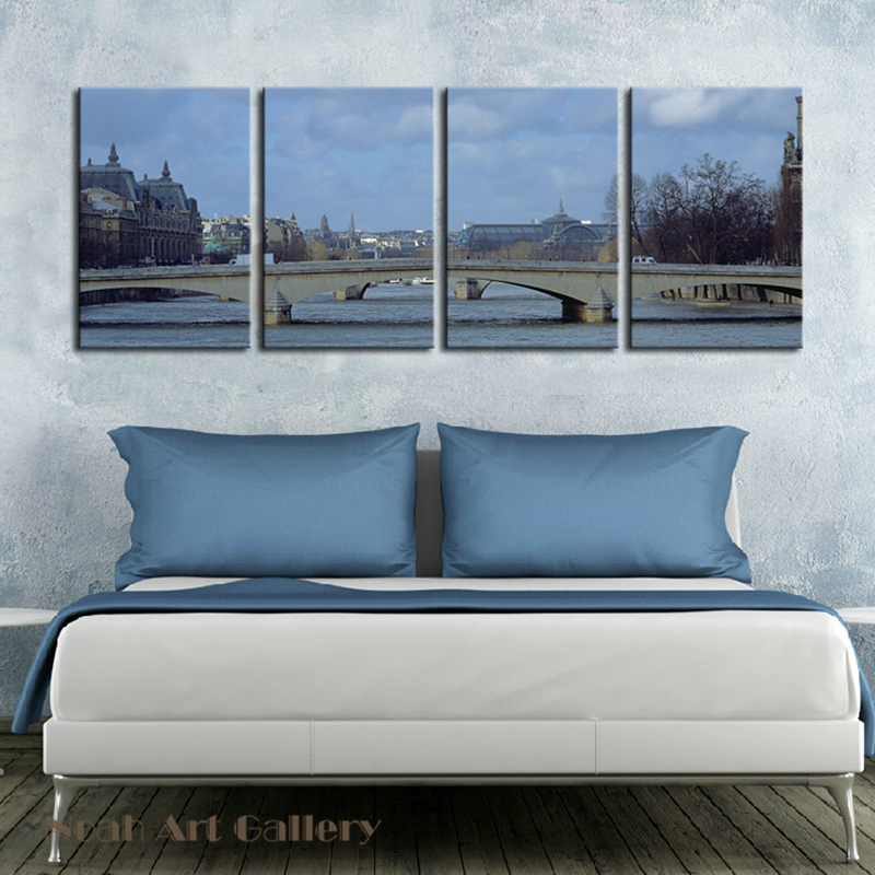 Wall Art Canvas Print Landscape Painting 4 Piece Canvas Art High Defination Spray Painting Building Pictures Waterproof Unframed