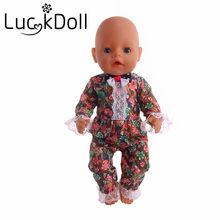 LUCKDOLL English Style Lace Ruffled Fit 18 Inch American 43cm Baby Doll Clothes Accessories,Girls Toys,Generation,Birthday Gift(China)