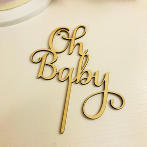 Image 4 - Oh Baby Cake Topper ,  Wooden  Acrylic Cake Topper Commemorative topper ,for Baby Shower Cake Decoration Supplies