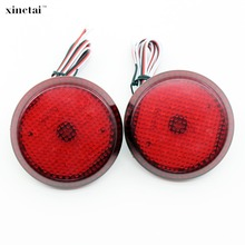 цена на 2PCS 6.8cm Red/Black Lens LED Rear Bumper Reflector Light Tail Brake Lamp for Toyota Sienna Corolla Nissan Qashqai Scion xB iQ