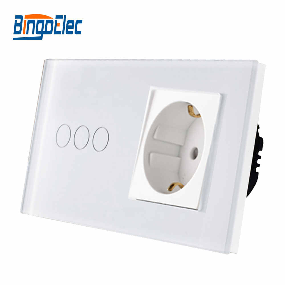 3a7526629d8b Стандарт ЕС настенный выключатель с розеткой, сенсорный выключатель с ЕС  Немецкая розетка, горячая распродажа