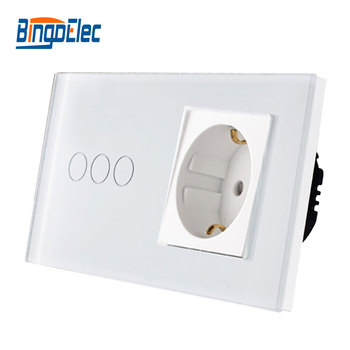 Bingoelec EU Standard 3Gang 1Way Touch Switch With Germany Wall Socket,White Black Gold Crystal Glass Panel Light Switch eu standard wall switch with socket touch switch with eu germany wall socket hot sale