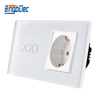 EU standard wall switch with socket, Touch switch with EU germany wall socket, Hot sale