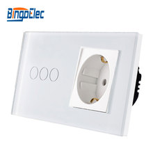 EU standard wall switch with socket, Touch germany free shipping