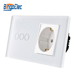 Bingoelec EU Standard 3Gang 1Way Touch Switch With Germany Wall Socket,White Black Gold Crystal Glass Panel Light Switch