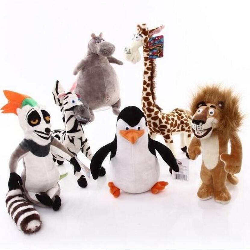 6pcs/lot Madagascar plush toys lion zebra long neck giraffe monkey Penguin hippo children gifts stuffed plush toy madagascar penguins plush 1 pcs set 15 18 cm europe s most wanted madagascar plush toy