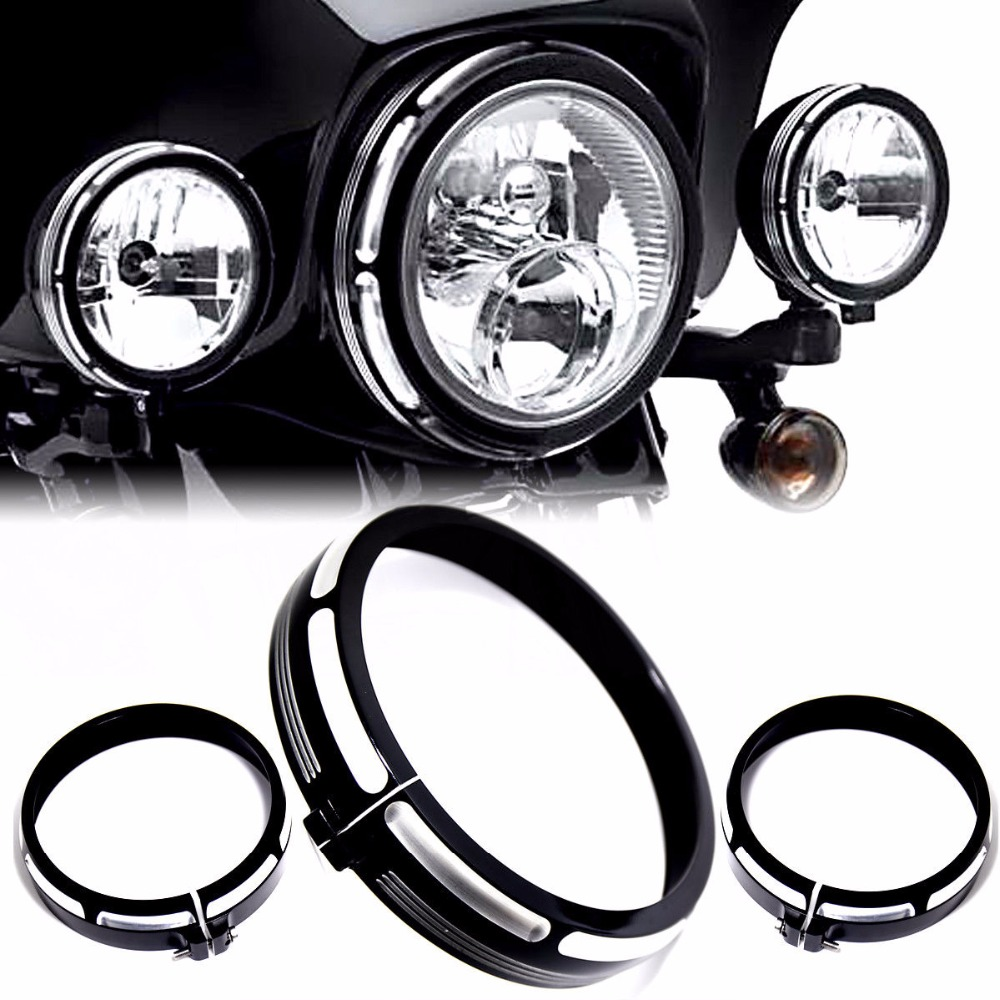 Black Burst Headlamp&Auxiliary Trim Ring For Harley Electra Street Glide Road King 96-15 16 17 18 black auxiliary lighting brackets fog light with turn signals for harley street glide flhx electra glide trike frame parts 06 13