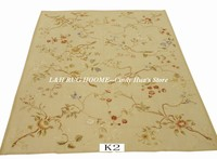 Free shipping 9'x12' Aubusson rugs beige colors with small flowers French style aubusson carpets