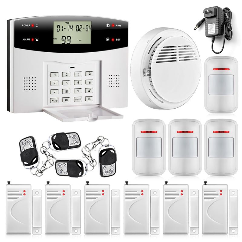 433MHZ dual-network GSM PSTN SMS House Burglar Security Alarm System fire/smoke Detector+door/window Sensor Kit Remote Control 9100 a quad band gsm sms home burglar security alarm system w detector sensor kit remote control