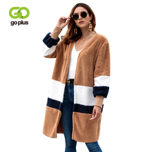 GOPLUS Winter Striped Faux Fur Long Coat Women Open Stitch Thick Warm Fluffy Jacket Female Overcoat Plus size Casual Outerwear