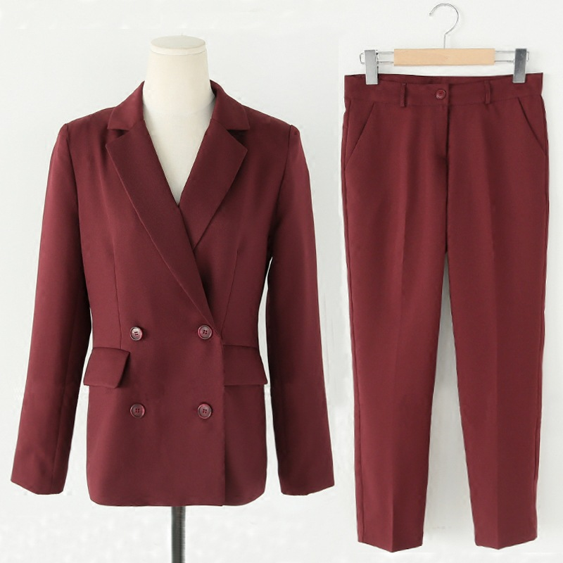Autumn and winter women black / red elegant suit OL white - collar beauty and leisure trousers Two pieces / sets