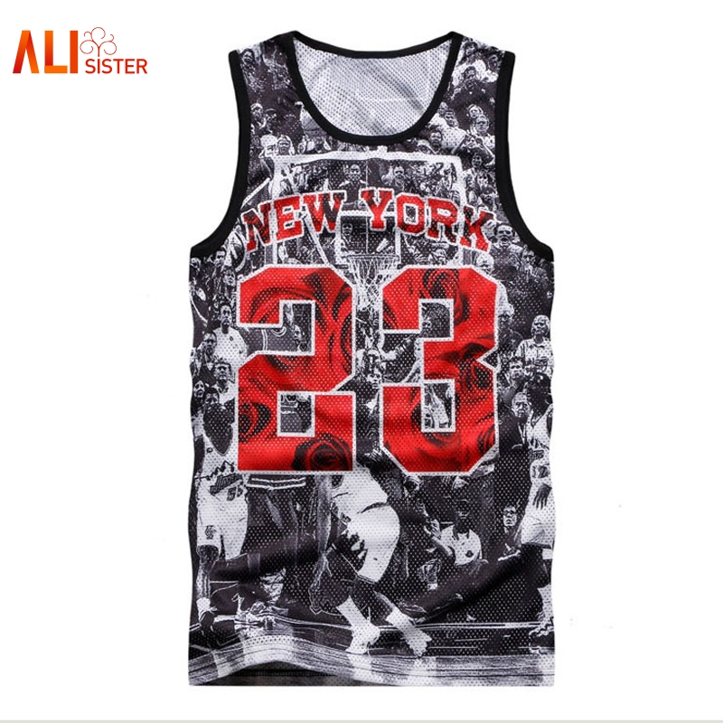 Alisister NEW YORK Jordan 23   Tank     Tops   Men's 2019 Summer 3d Mesh Vest Fit Slim Sleeveless Tee Shirts Bodybuilding Clothing