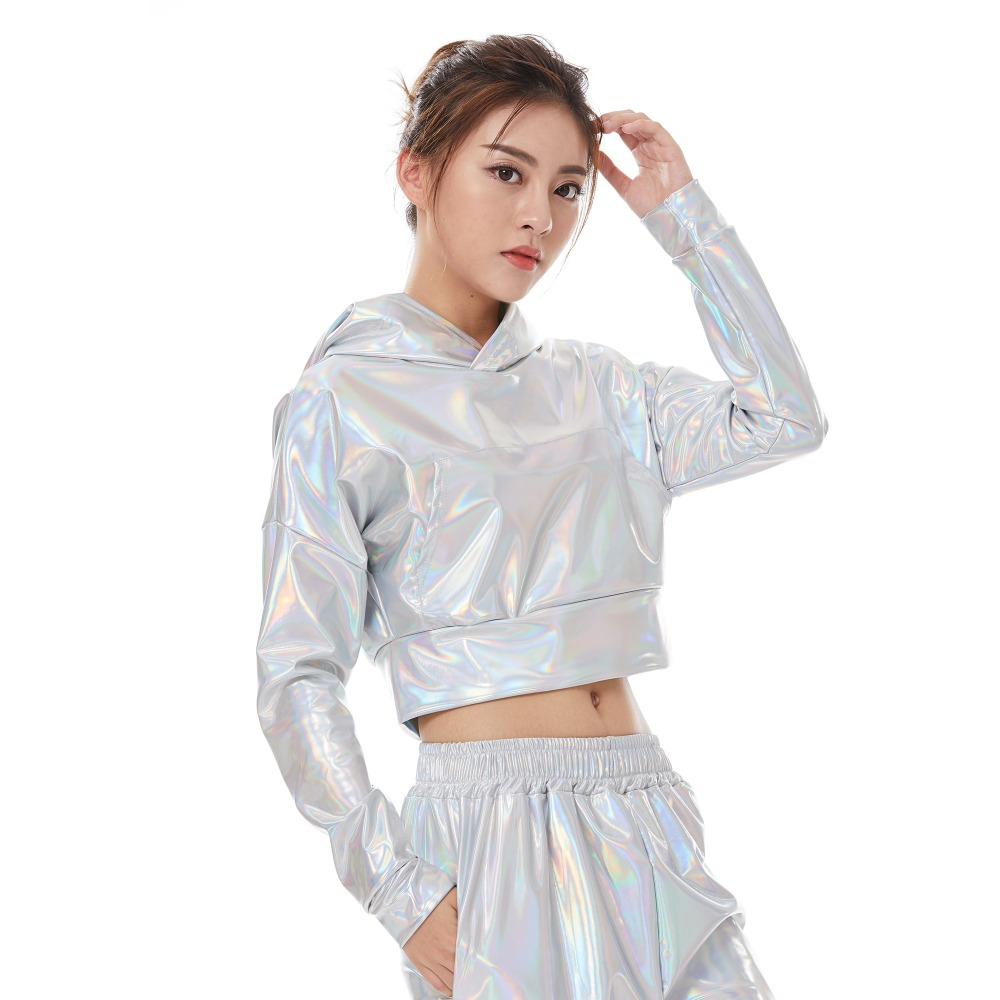 Fashion Women Spring Summer Fluorescence Pullover Short Jacket Ladies Jazz Ds Hip Hop Stage Performance Streetwear Dance Top in Vests amp Waistcoats from Women 39 s Clothing