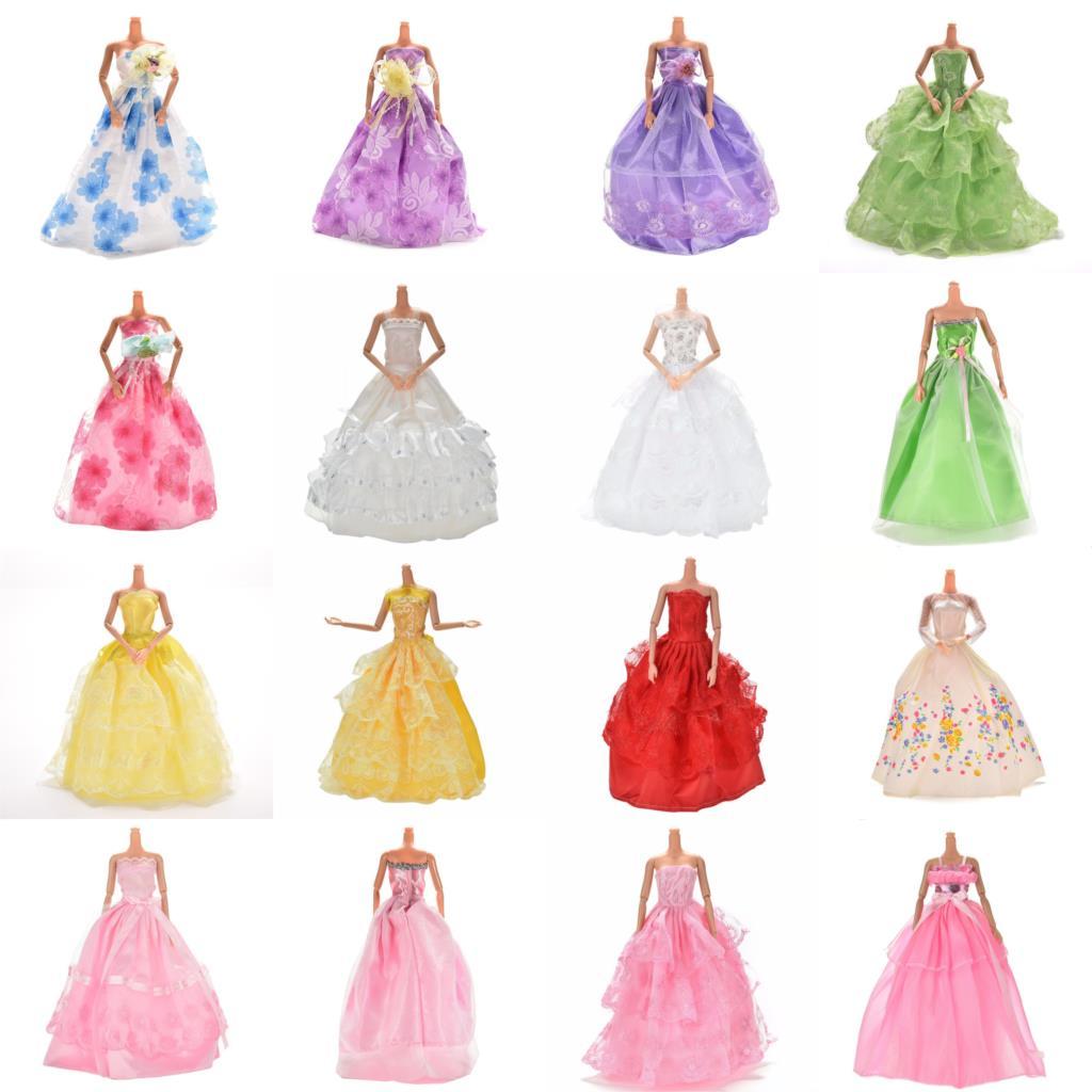 1 Pcs Doll Fashion Dress Wedding Gown 22.5cm Long Veil Trailing Dress For Barbies Dolls Accessories Purple Pink Blue Color  Платье