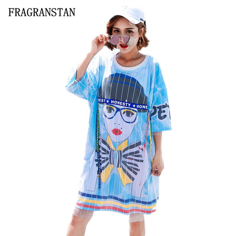Women's Clothing Frank New 3d Character Pattern Printed Letter Ribbon Mesh Voile Patchwork Dress Spring Summer Female Fashion Casual Loose Dress Jq268