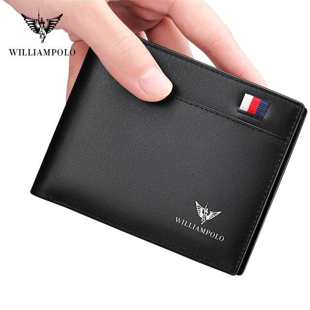 Williampolo carteira masculina de couro legítimo, nova carteira masculina compacta feita em couro legítimo, com dobra central e compartimento para cartões 6