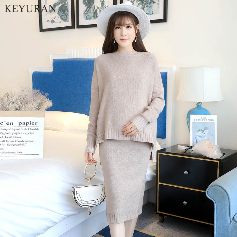 2018 Autumn Winter New Fashion Maternity Dress Knitted Sweaters Shirts + Skirts Sets Clothes for Pregnant Women Pregnancy Sets grrcosy long maternity knitted sweaters dress for pregnancy autumn winter sexy split bottoming dress for pregnant women