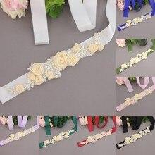 Womens Elegant Three Flower Sash Rhinestone Beaded Waistband Bridal Ribbon Cummerbunds Wedding Dress Waist Belt