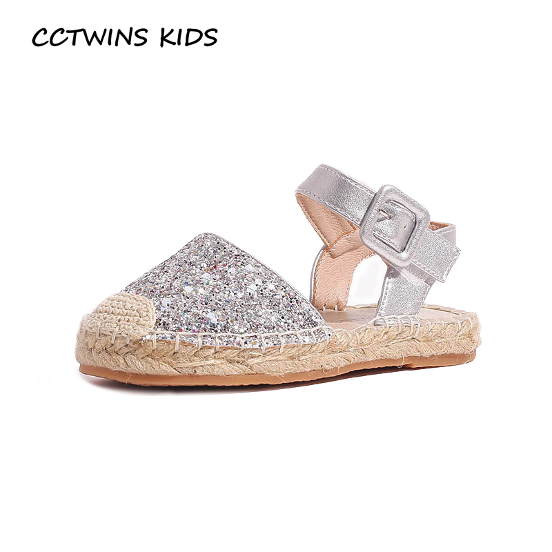 CCTWINS Kids Shoes 2019 Summer Girls Glitter Fisherman Flats Children Fashion Princess Sandals Toddler Baby Casual Shoes PS521