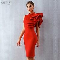 Adyce Новинка 2019 года лето для женщин знаменитости платье vestidos пикантные белые красные без рукавов оборками Bodycon Midi Bodycon клуб платья для
