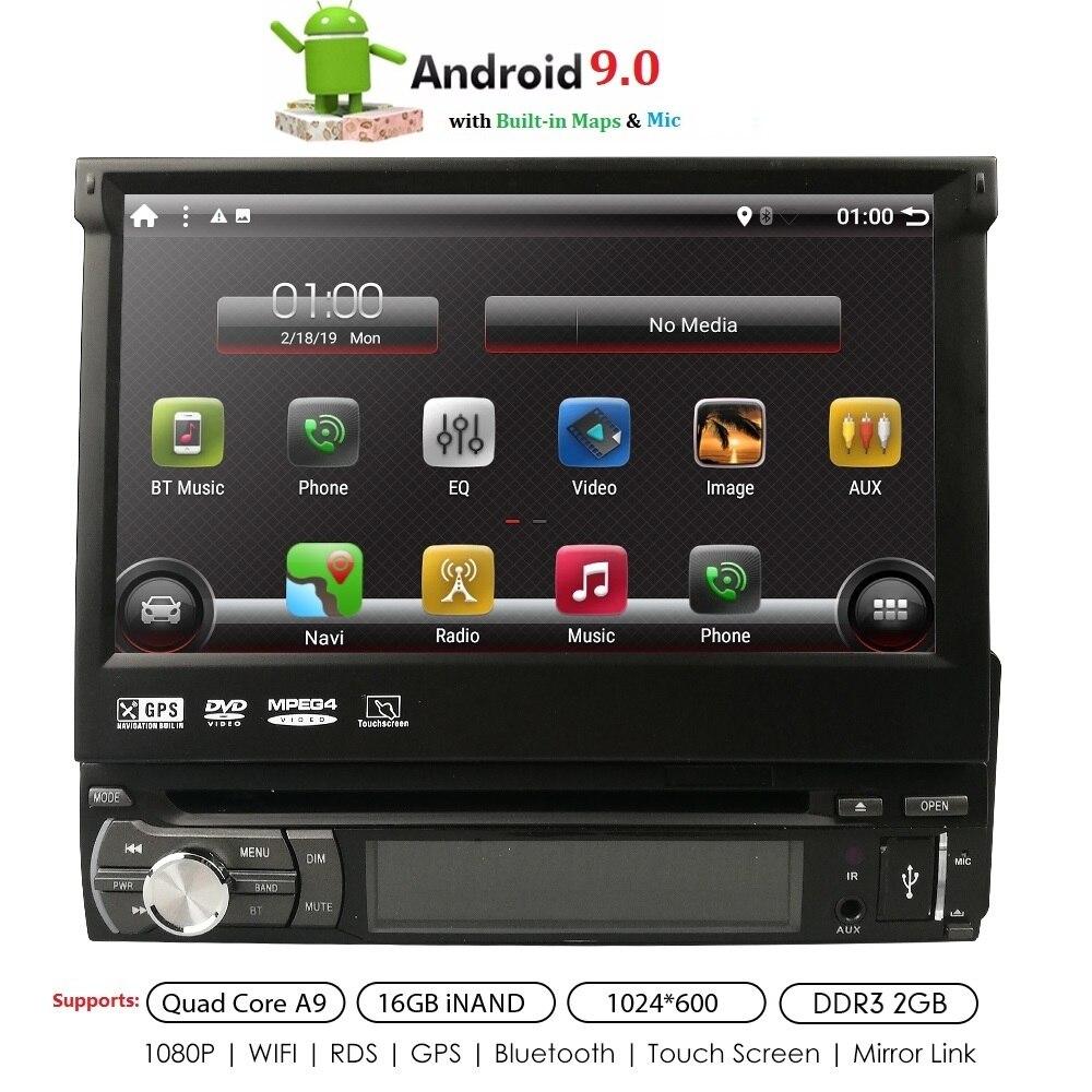 Android 9.0 universel 1 din Quad Core lecteur DVD de voiture GPS Wifi BT Radio BT 2 GB RAM 16 GB ROM16GB 4G SIM réseau volant RDS