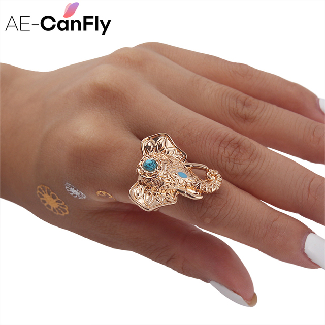 US $2 99 |AE CANFLY 1 PC Vintage Elephant Ring Antique Silver Punk Rings  for Women Fashion Jewelry 1D3004-in Rings from Jewelry & Accessories on