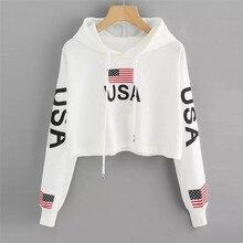 Women Casual American Flag Print Hoodie Sweatshirt Top Blous