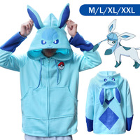 Pokemon Go Glaceon Winter Warm Coat Sweater Hoodie Thermal Cosplay Cute With Ears For Lovers Couple