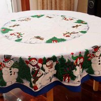 WINLIFE Cute Snowman Christmas Tablecloth Polyester Pine Tree Christmas Table Cloths Rectangular or Round