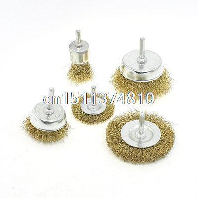 5 in 1 Set Brass Coated Wire Wheel Brush Polishing Finishing Tool