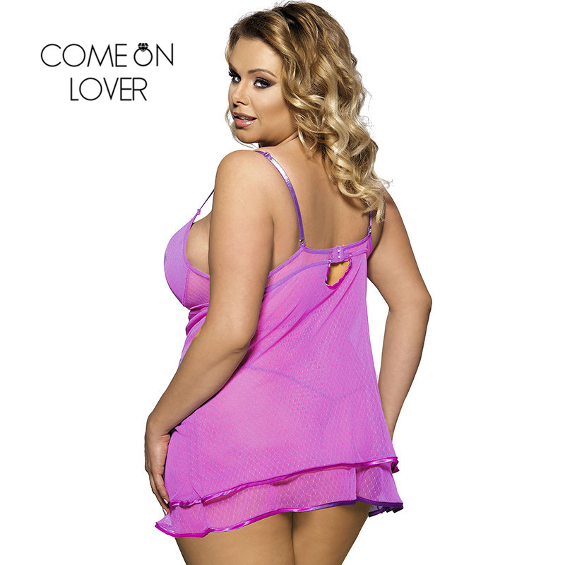 Comeonlover Ropa Sexy Mujer Intima Picardias Purple Sheer Mesh Erotic Lingerie Porno Costumes Large Size Lace Sleepwear RI70041 1
