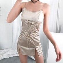 Summer Strap Dresses 2019 New Women Champagne Sexy Sleeveless Square Collar Bandage Short Mini Dress