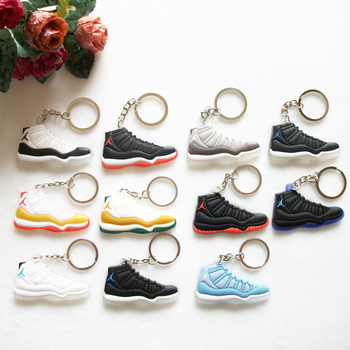 Mini Silicone Jordan 11 Keychain Bag Charm Woman Men Kids Key Ring Gifts
