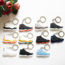 17 Color Mini Silicone Jordan 11 Keychain Bag Charm Woman Men Kids Key Ring Gifts Sneaker Key Holder Accessories Shoes Key Chain(China)