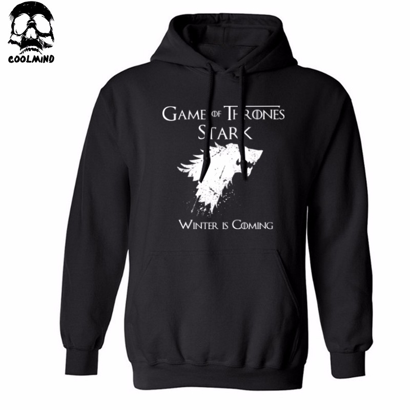 THE COOLMIND Top quality cotton blend game of thrones men hoodies casual winter is coming house of stark men sweatshirt with hat 3