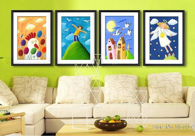 Decorative painting kids room wall art picture snow white princess oil paintings children room for Canvas prints childrens bedrooms