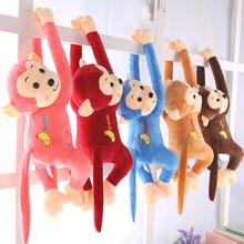hot deal buy iovely stuffed & plush animals monkey doll cute long arm monkey doll crystal super soft monkey pillow birthday gift girl sale