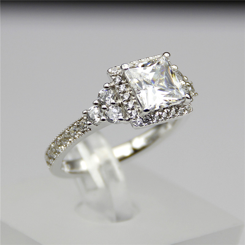 aliexpresscom buy 2 carat diamond ring setting princess cut halo engagement ring simulated diamond wedding rings square diamond ring vvs1 e f from - Square Diamond Wedding Rings